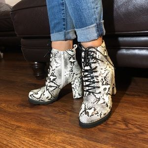 Shoes - Faux leather snake print ankle boots